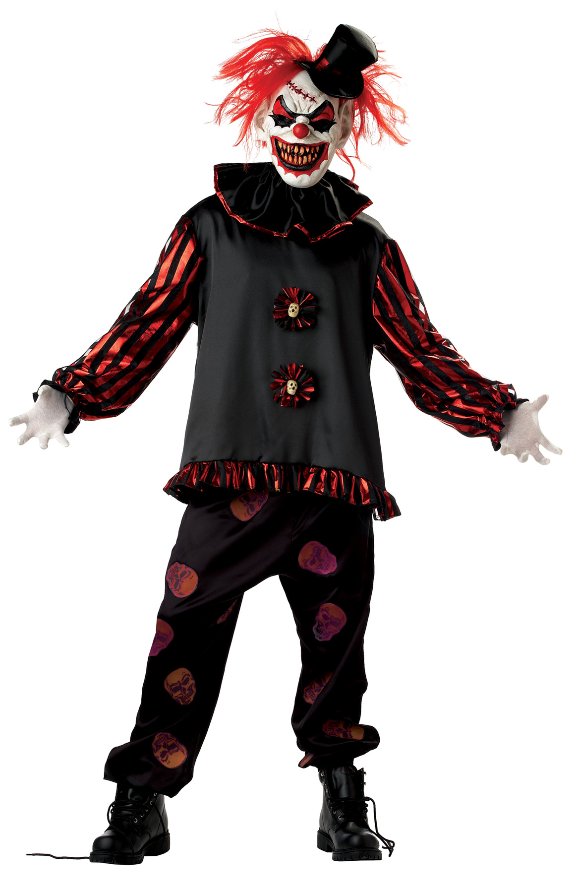 Scary Clown Mask with Hair Evil Halloween Fancy Dress Kids Adult Boys Mens