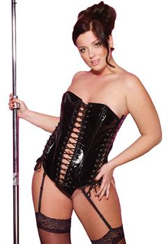 Black Vinyl Corset With G-String