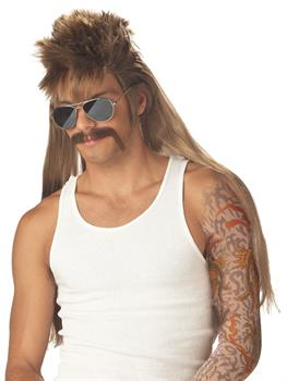 Mullet Wig and Mustache Set