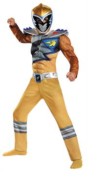 Boys Gold Ranger Dino Class Muscle Costume 4-6 - Standard
