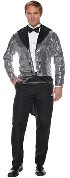 SEQUIN TAILCOAT ADULT SILVER STD