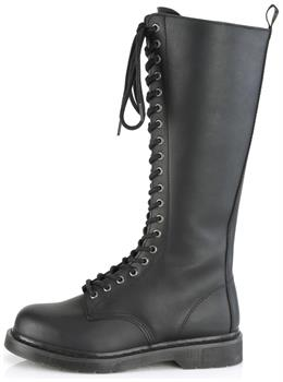 "1 1/4"" Heel 20-Eyelet Knee High Unisex Vegan Boot, Side Zip"