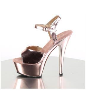 "6"" Heel, 1 3/4"" Chrome Plated PF Ankle Strap Sandal"