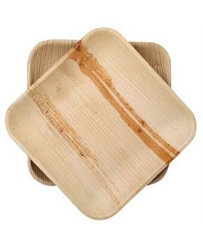 Dtocs Natural Palm Leaf 8 Square Disposable Party Plates Chemical Free Biodegradable And Eco Friendly