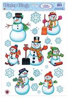 Snowman and Snowflake Window Clings