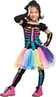 Girl's Neon Skeleton Costume