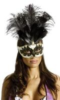 Carnival Mask Big Feather Black & Gold