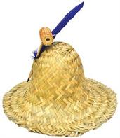 Hillbilly Hat with Pipe and Feather