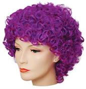 LONG CURLY CLOWN DELUXE DK PURPLE WIG