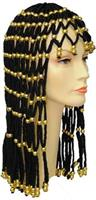 Headdress Black With Gold Beads