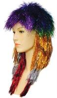 PUNK LONG TINSEL RAINBOW WIG