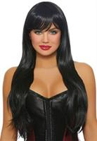 Long Straight Layered Black Wig