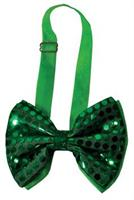Light Up Bow Tie Green Sequin