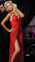 Gown With Center Slit Red