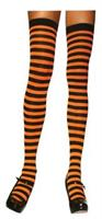 Stockings Thigh High Striped Black/Orange