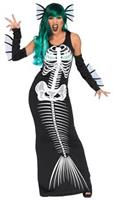Skeleton Siren Adult 3 piece Med Costume